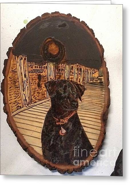 Greeting Card featuring the pyrography Timber by Denise Tomasura