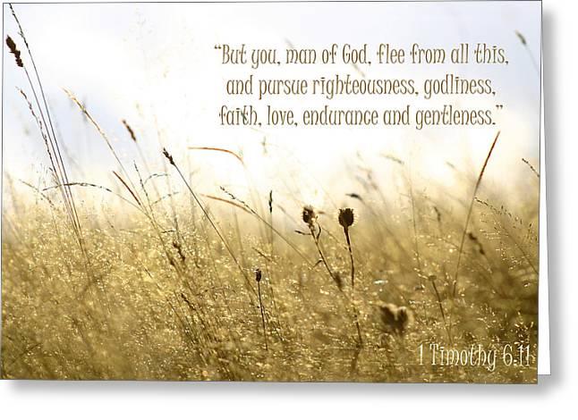 1 Timothy 6 11 Greeting Card