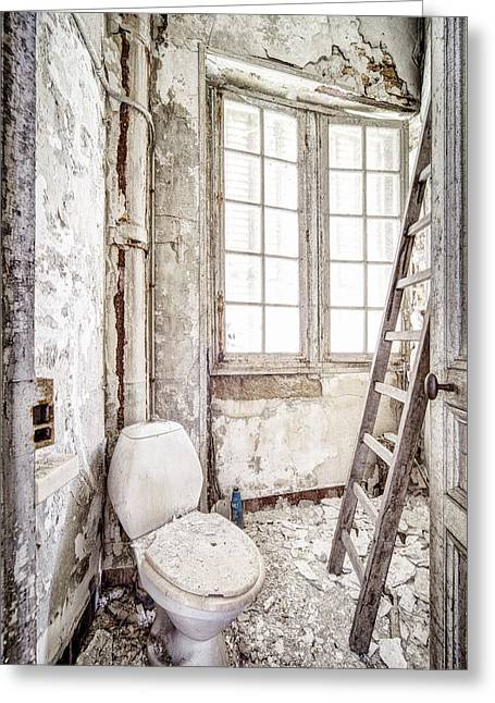 Toilet Escape Abandoned Places Greeting Card