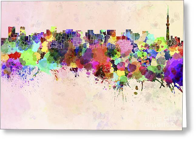 Tokyo Skyline In Watercolor Background Greeting Card