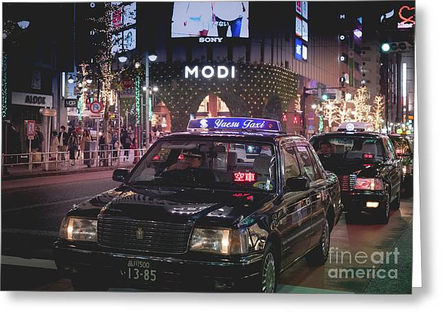 Tokyo Taxis, Japan Greeting Card