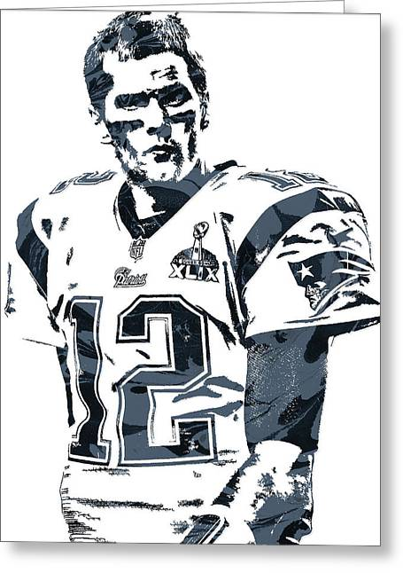 Tom Brady New England Patriots Pixel Art 6 Greeting Card