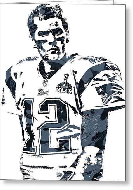 Tom Brady New England Patriots Pixel Art 6 Greeting Card