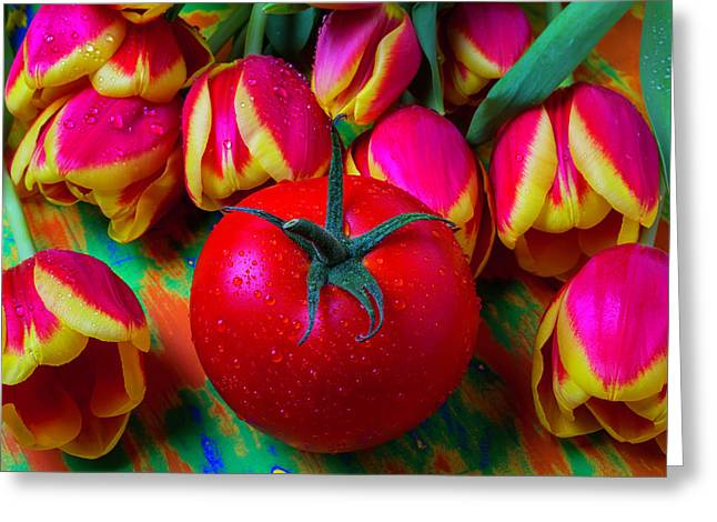 Tomato And Tulips Greeting Card
