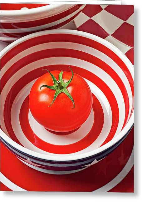 Tomato In Red And White Bowl Greeting Card by Garry Gay