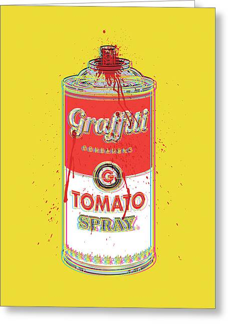 Tomato Spray Can Greeting Card by Gary Grayson