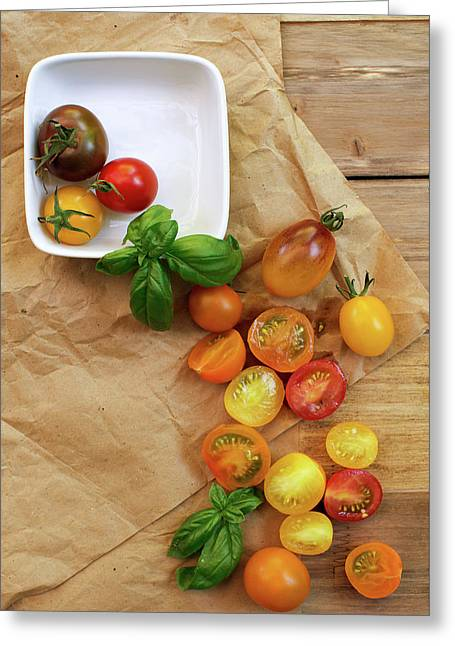 Tomato Still Life 5 Greeting Card by Rebecca Cozart