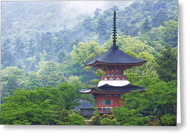 Honshu Greeting Cards - Top of a Pagoda Greeting Card by Jeremy Woodhouse