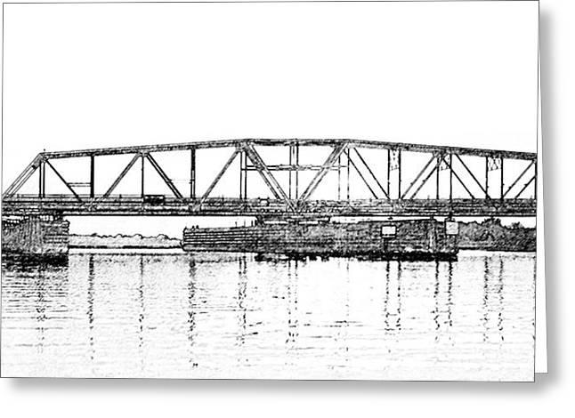 Topsail Island Swing Bridge Greeting Card