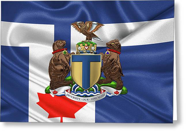 Toronto - Coat Of Arms Over City Of Toronto Flag  Greeting Card by Serge Averbukh