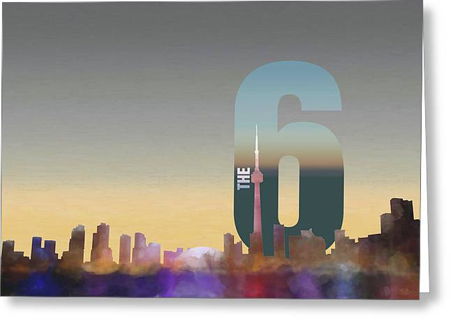 Toronto Skyline - The Six Greeting Card by Serge Averbukh