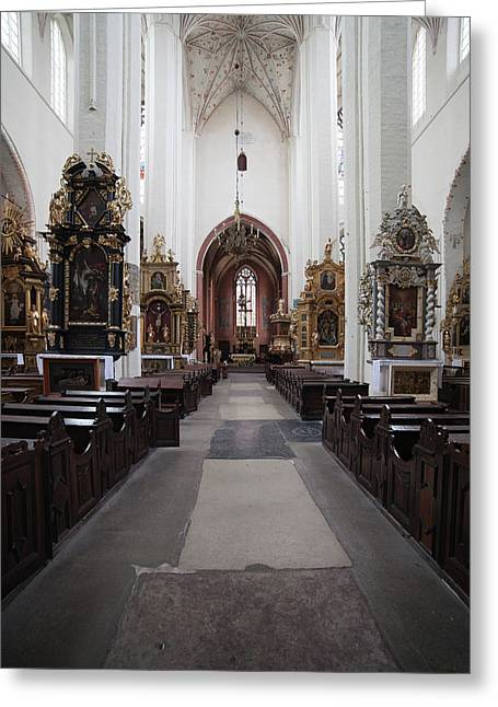Torun Cathedral Interior In Poland Greeting Card by Artur Bogacki
