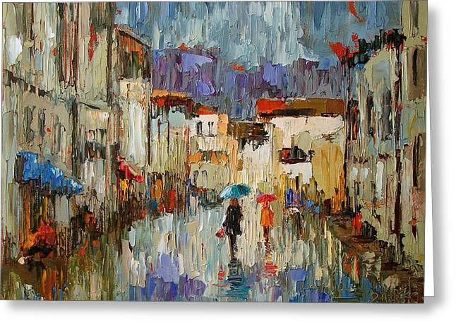 Tourists Greeting Card by Debra Hurd