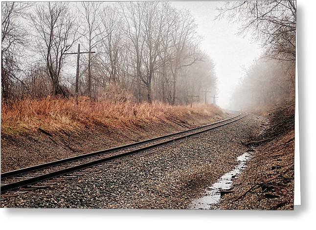 Greeting Card featuring the photograph Tracks In Morning Fog by Lars Lentz