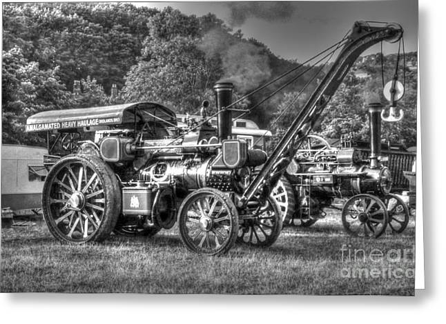 Traction Engine With Crane Greeting Card by Rod Jones