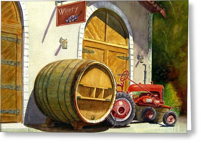 Greeting Card featuring the painting Tractor Pull by Karen Fleschler