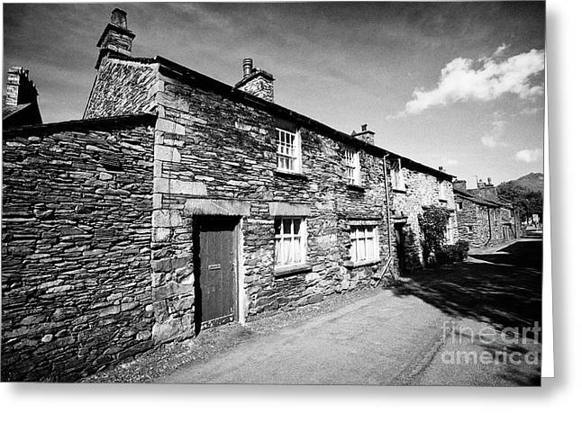 Traditional Lake Stone Slate Built Cottages In The Hamlet Of Town End Near Grasmere Lake District Cu Greeting Card