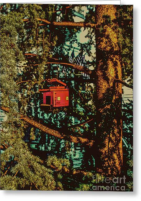 Train Bird House Greeting Card