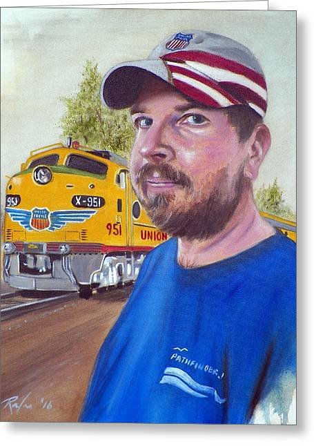 Train Boy Greeting Card by RB McGrath