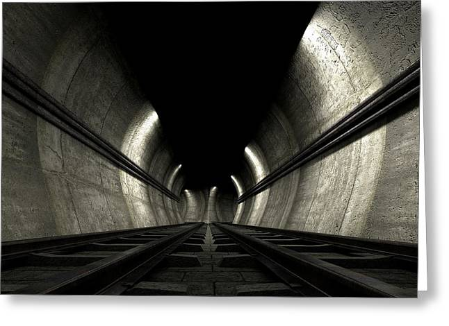 Train Tracks And Tunnel Greeting Card by Allan Swart