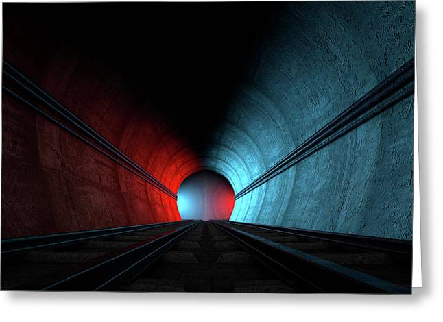 Train Tracks And Tunnel Split Choices Greeting Card by Allan Swart