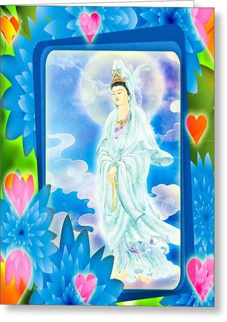 Tranquility Enabling Kuan Yin Greeting Card by Lanjee Chee