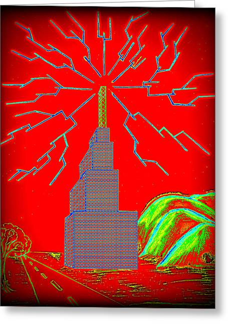Transmission Tower Greeting Card by Colin Clayton