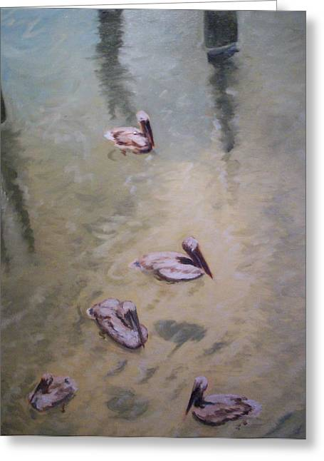 Treading Water Greeting Card by Karen Thompson