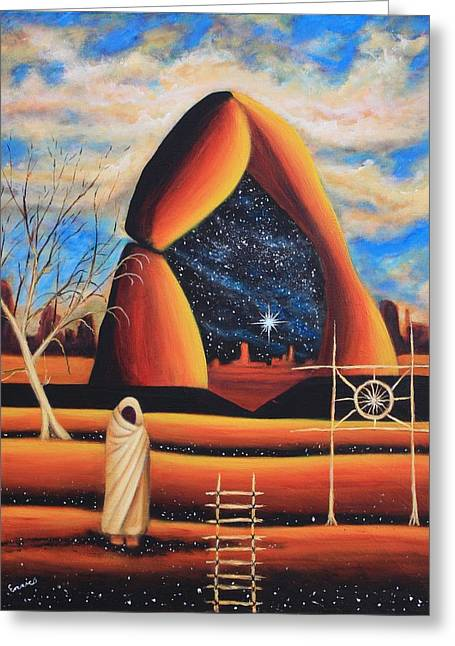Triangle Door Greeting Card by Art Enrico
