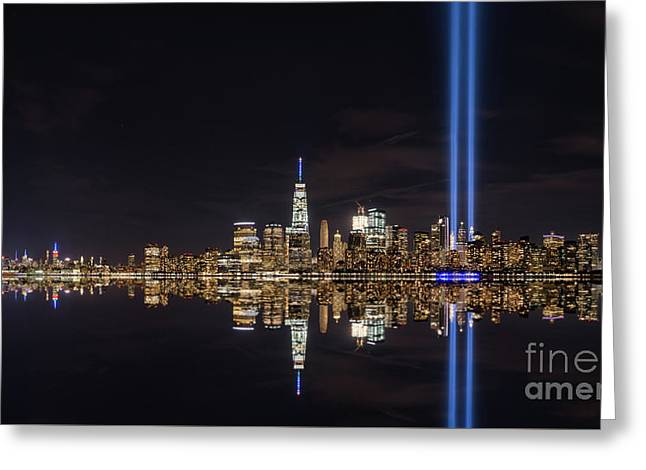 Tribute In Light Reflections  Greeting Card by Michael Ver Sprill