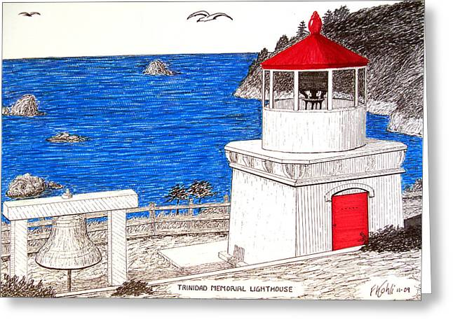 Trinidad Memorial Lighthouse Greeting Card by Frederic Kohli