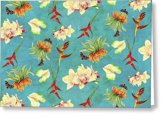 Tropical Island Floral Half Drop Pattern Greeting Card