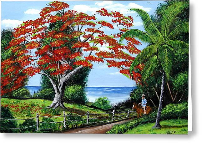 Tropical Landscape Greeting Card by Luis F Rodriguez