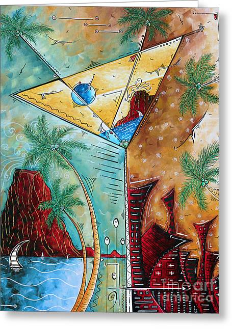 Tropical Martini Original Painting Fun Pop Art Style By Megan Duncanson Greeting Card by Megan Duncanson