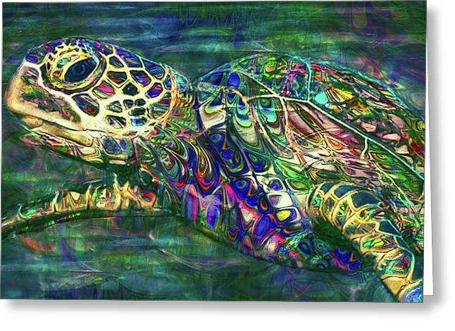 Tropical Sea Turtle 2 Greeting Card by Jack Zulli