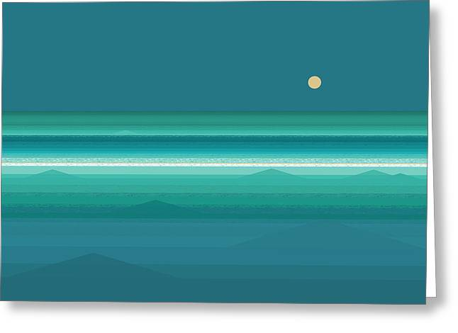Greeting Card featuring the digital art Tropical Sea Moonrise by Val Arie