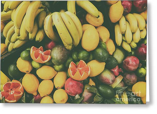 Tropical Summer Fruits In Fruit Market Greeting Card