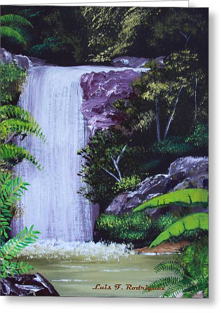 Tropical Waterfall Greeting Card by Luis F Rodriguez