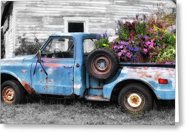 Truckbed Bouquet Greeting Card