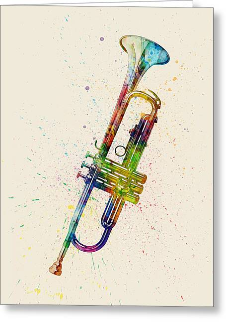 String Art Greeting Cards - Trumpet Abstract Watercolor Greeting Card by Michael Tompsett