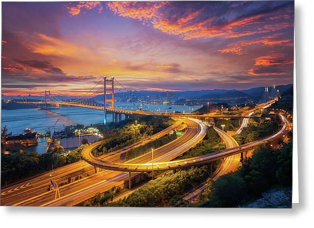 Tsing Ma Bridge Greeting Card by Anek Suwannaphoom