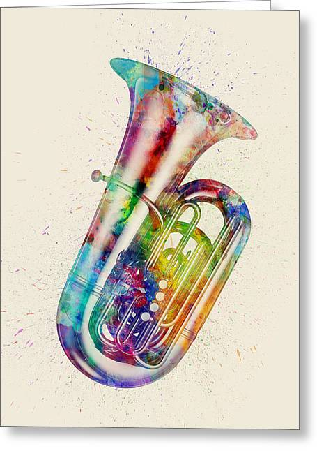 Tuba Abstract Watercolor Greeting Card by Michael Tompsett