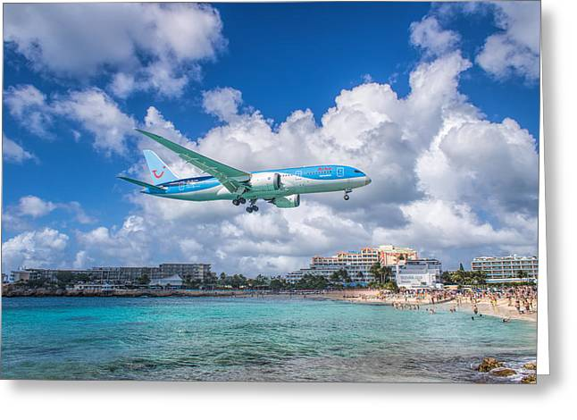 Tui Airlines Netherlands Landing At St. Maarten Airport. Greeting Card by David Gleeson