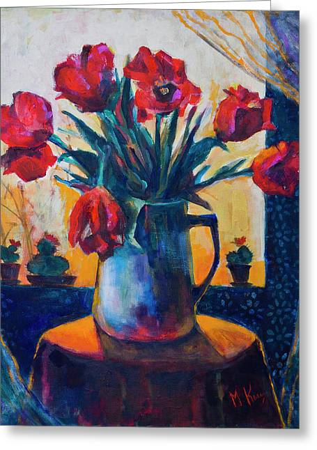 Tulips And Cacti Greeting Card
