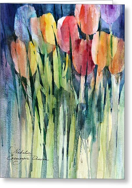 Tulips Greeting Card by Natalia Eremeyeva Duarte