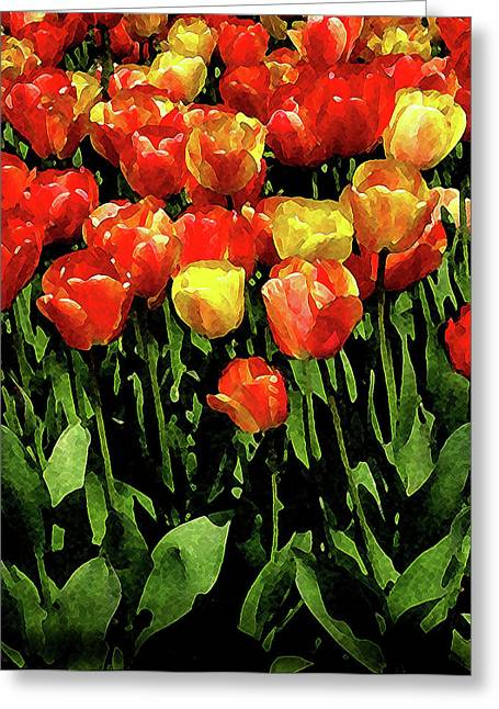 Tulips Greeting Card by Timothy Bulone