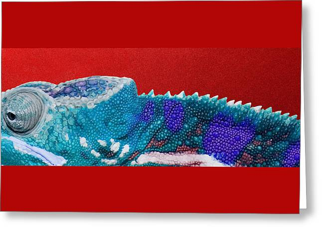 Turquoise Chameleon On Red Greeting Card