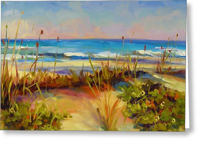 Greeting Card featuring the painting Turquoise Tide by Chris Brandley