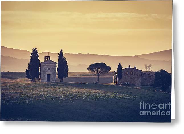 Tuscany Landscape At Sunrise. Chapel Of Madonna Di Vitaleta, San Quirico D'orcia, Italy Greeting Card