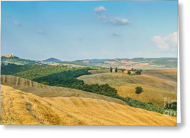 Tuscany Landscape With Rolling Hills At Sunset, Val D'orcia, Ita Greeting Card by JR Photography